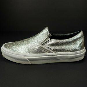 Vans Classic Slip On Skate Shoes Silver Glitter
